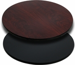 Round Restaurant Table Top with Reversible Black or Mahogany <font color = blue><b>Laminate</b></font> Top [BFDH-BKMAHRD-TDR]