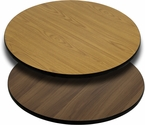 Round Restaurant Table Top with Reversible Natural or Walnut <font color = blue><b>Laminate</b></font> Top