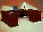 Rue De Lyon Left Executive U Desk - Ruby Cabernet [7684-58A-FS-DMI]