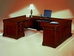Rue De Lyon Right Executive U Desk - Ruby Cabernet [7684-57A-FS-DMI]