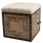 Rustic Crate Ottoman - Accentrics Cities [DS-597014-FS-PUL]