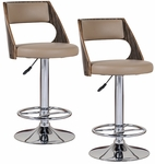 Favorite Finds Bent Wood Back Height Adjustable Swivel Barstool with Faux Leather Seat - Set of 2 - Saddle [10040-FS-LCK]