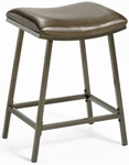 Saddle Height Adjustable Metal Stool with Brown Vinyl Seat - Brown Copper [63725-FS-HILL]