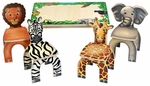 Safari Themed Table & 4 Safari Animal Chairs [STA7728-FS-ANA]