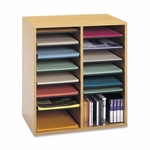 Safco Adjust Organizer -19 1/2'' x 11 3/4'' x 20'' -16 Compartment -Med Oak [SAF9422MO-FS-SP]