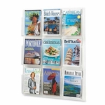 Safco Magazine Display Rack - 9 Pockets - 30'' x 2'' x 36 7/8'' - Clear [SAF5603CL-FS-SP]