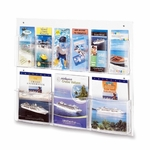 Safco Magazine/Pamphlet Display -9 Pockets -28'' x 3'' x 23 1/2'' -Clear [SAF5666CL-FS-SP]