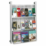 Safco Magazine Rack - Wall Mount - 9 Pocket - 31 3/4'' x 5'' x 41'' - Silver [SAF4134SL-FS-SP]