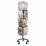 Safco Products Company Rotary Floor Display - 16 Pockets - 15'' x 15'' x 60'' - Charcoal [SAF4139CH-FS-SP]