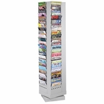 Safco Rotary Magazine Rack - 92 Pockets -14'' x 14'' x 68'' - Gray [SAF4325GR-FS-SP]