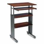 Safco® Adjustable Height Stand-Up Workstation,  29''W x 22''D x 49''H,  Cherry [SAF1929CY-FS-NAT]