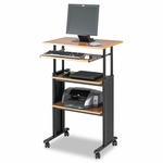 Safco® Adjustable Height Stand-Up Workstation -   29''W x 22''D x 49''H -   Oak [SAF1929MO-FS-NAT]