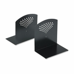 Safco® Bookends,  Nonskid,  10 x 6 1/2 x 10 1/2,  Heavy Gauge Steel,  Black [SAF3115BL-FS-NAT]