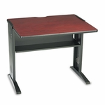 Safco® Computer Desk W/ Reversible Top,  35-1/2''W x 28''D x 30''H,  Mahogany/Medium Oak/Black [SAF1930-FS-NAT]