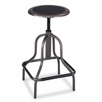 Safco® Diesel Series Backless Industrial Stool - High Base - Pewter Leather Seat [SAF6665-FS-NAT]
