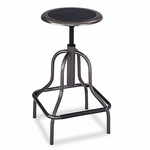 Safco® Diesel Backless Industrial Stool,  High Base,  Black Leather Seat [SAF6665-FS-NAT]