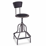 Safco® Diesel Series Industrial Stool w/Back - High Base - Pewter Leather Seat/Back Pad [SAF6664-FS-NAT]