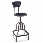 Safco® Diesel Industrial Stool w/Back,High Base,Black Leather Seat/Back Pad [SAF6664-FS-NAT]