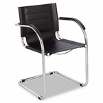 Safco® Flaunt Series Guest Chair,  Black Leather/Chrome [SAF3457BL-FS-NAT]