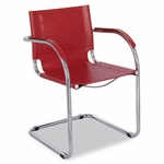 Safco® Flaunt Series Guest Chair,Red Leather/Chrome [SAF3457RD-FS-NAT]