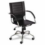 Safco® Flaunt Series Mid-Back Manager's Chair,  Black Leather/Chrome [SAF3456BL-FS-NAT]