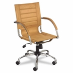 Safco® Flaunt Series Mid-Back Manager's Chair - Camel Microfiber/Chrome [SAF3456CM-FS-NAT]