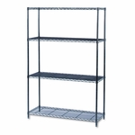 Safco® Industrial Wire Shelving Starter Kit - Four-Shelf - 48w x 18d x 72h - Black [SAF5291BL-FS-NAT]