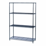 Safco® Industrial Wire Shelving Starter Kit,  4 Shelves,  48''W x 18''D x 72''H,  Black [SAF5291BL-FS-NAT]