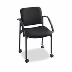 Safco® Moto Stacking Chairs,  Black Fabric Upholstery,  2/Carton [SAF4184BL-FS-NAT]