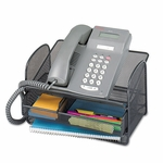 Safco® Onyx Angled Mesh Steel Telephone Stand,  11 3/4 x 9 1/4 x 7,  Black [SAF2160BL-FS-NAT]