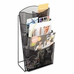 Safco® Onyx Mesh Counter Display - Four Compartments - 9-3/4w x 6-1/2d x 18h - Black [SAF5640BL-FS-NAT]