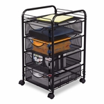 Safco® Onyx Mesh Mobile File With Four Supply Drawers - 15-3/4w x 17d x 27h - Black [SAF5214BL-FS-NAT]