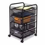 Safco® Onyx Mesh Mobile File w/Four Supply Drawers,  15-3/4''W x 17''D x 27''H,  Black [SAF5214BL-FS-NAT]