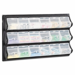Safco® Polypropylene Panel Storage w/18 Bins,  34 x 51/4 x 20 1/2,  Black [SAF6112BL-FS-NAT]