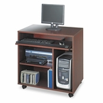 Safco® Ready-to-Use PC Workstation,31-3/4''W x 19-3/4''D x 31-3/8''H,Mahogany Laminate Top [SAF1901MH-FS-NAT]