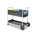 Safco® Scoot Mail Cart - One-Shelf - 22-1/2w x 39-1/2d x 40-3/4h - Black/Silver [SAF5239BL-FS-NAT]
