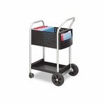 Safco® Scoot Mail Cart - One-Shelf - 22w x 27d x 40-1/2h - Black/Silver [SAF5238BL-FS-NAT]