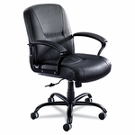 Safco® Serenity Big & Tall Mid-Back Chair,Black Leather [SAF3501BL-FS-NAT]
