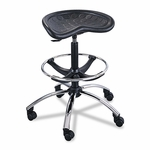 Safco® Sit-Star Stool with Footring & Caster - 27''-36''h Seat - Black/Chrome [SAF6660BL-FS-NAT]
