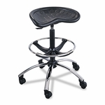 Safco® Sit-Star Stool with Footring & Caster,  27''-36''H Seat,  Black/Chrome [SAF6660BL-FS-NAT]