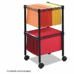 Safco® Two-Tier Compact Mobile Wire File Cart,  Steel,  15-1/2''W x 14''D x 27-1/2''H,  Black [SAF5221BL-FS-NAT]