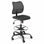 Safco® Vue Series Mesh Extended Height Chair,  Acrylic Fabric Seat,  Black [SAF3395BL-FS-NAT]