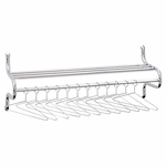 Safco® Chrome-Plated Shelf Rack - 12 Non-Removable Hangers - 49w x 14d x 19h - Metal [SAF4164-FS-NAT]