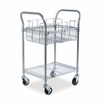 Safco® Wire Mail Cart,  600lbs,  18-3/4''W x 26-3/4''D x 38-1/2''H,  Metallic Gray [SAF5235GR-FS-NAT]