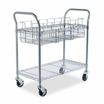 Safco® Wire Mail Cart,  600lbs,  18-3/4''W x 39''D x 38-1/2''H,  Metallic Gray [SAF5236GR-FS-NAT]