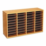 Safco® Wood/Laminate Literature Sorter - 36 Sections - 39 1/4 x 11 3/4 x 24 - Medium Oak [SAF9424MO-FS-NAT]