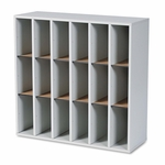 Safco® Wood Mail Sorter with Adjustable Dividers - Stackable - 18 Compartments - Gray [SAF7765GR-FS-NAT]