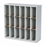 Safco® Wood Mail Sorter with Adjustable Dividers,  Stackable,  18 Compartments,  Gray [SAF7765GR-FS-NAT]
