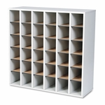 Safco® Wood Mail Sorter with Adjustable Dividers,  Stackable,  36 Compartments,  Gray [SAF7766GR-FS-NAT]