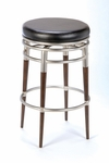 Salem Metal 26'' Counter Height Backless Stool with Black Vinyl Swivel Seat - Brushed Chrome [4688-827-FS-HILL]